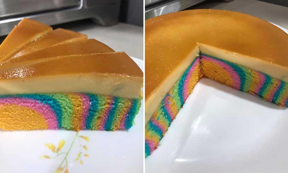 kek puding karamel pelangi